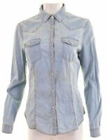 BENETTON Womens Shirt Size 14 Medium Blue Cotton  FO04