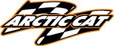 "Arctic Cat snowmobile sticker decal large checkered flag orange 9""x 22"""