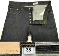 """GUSTIN NEW #17 SELVAGE RAW STRAIGHT JEANS MADE IN USA SZ 38 - W40"""" L31.5"""" HEMMED"""
