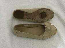 UGG S/N 1678 Womens Leather  Nubuck Suede Send Beige Moccasins US SIze 5 Shoes