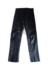 Echtes Leder - Black Leather Jeans Trousers / Schwarze Leder- Jeanshose: Size 30