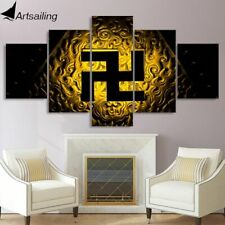 New Religious Buddhist Symbol Svastik Canvas Wall Art Buddha Symbol Poster Decor