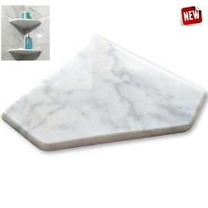 "EZ-MOUNT 8"" Marble Shower Corner Shelf (XD Bianci Ibiza) Stone Bath Soap Dish"