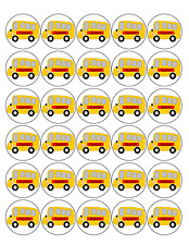 30x School Bus Premium Rice Wafer Paper Cup Cake Toppers Round Fairy Buses D1