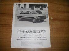 REVUE TECHNIQUE évolution des POLSKY-FIAT (FSO) 125 P / 125 PX depuis 1975