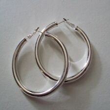 Boucles d'oreilles créoles, argent sterling 925, diamètre : 5 cm, neuves