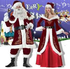 Santa Claus Suit Women Men Deluxe Velvet Christmas Costume Fancy Dress Full Set