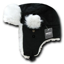 Black/White TRAPPER AVIATOR HAT Fur Bomber Cap winter ski ear flaps trooper L/XL
