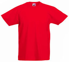 FRUIT OF THE LOOM PLAIN RED CHILDS GIRLS BOYS T SHIRT TEE ALL SIZES SS031