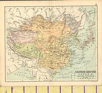 C1887 Landkarte ~ Chinesisch Reich & Japan Ost Turkistan Tibet Mongolei