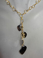 14K SOLID YELLOW GOLD HEART LARIAT DANGLE NECKLACE GRAMS 4.31 ITALY