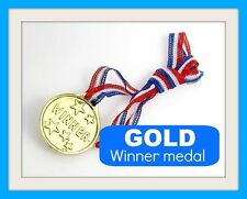12 kids gold WINNER MEDALs school sport day party bag filler toy PRIZE reward