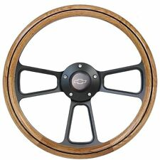 Chevy Camaro 1969 - 1994 Oak & Black Billet Steering Wheel + Adapter SHIPS FREE!