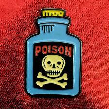 """1"""" Poison Bottle skull crossbones badge pinback lapel pin"""