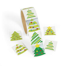 100 SHINY FOIL Christmas TREE HOLIDAY Stickers Card Seals Gift Bags Scrapbooking