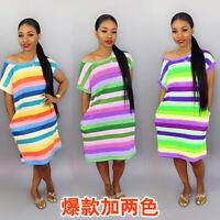 New Women Short Sleeves Rainbow Stripes Print Pockets Casual Loose Summer Dress