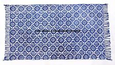 Blue Indigo Cotton Block Print Accent Area Dhurrie Rug Woven Weave
