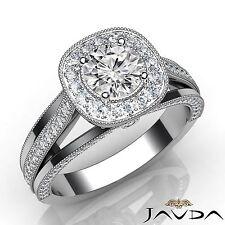 1.61ct Round Diamond Engagement GIA F VVS2 14k White Gold Halo Milgrain Ring