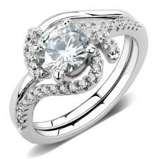1591 SIMULATED DIAMOND RING SET BAND WEDDING & ENGAGEMENT ELEGANT PRETTY SWIRL