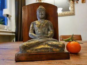 Buddha /  Lavastein & Holz / Goldreste / Thailand / Budda / Figur / Skulptur