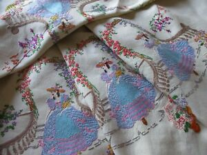 Vintage Hand Embroidered Linen Tablecloth-OUTSTANDING CRINOLINE LADIES & FLORALS
