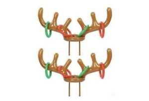 Inflatable Reindeer Ring Toss Game with Red Christmas Bag