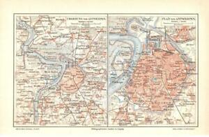 Antique map. BELGIUM. CITY MAP OF ANTWERP & SURROUNDINGS OF ANTWERP. c 1905
