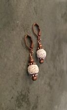 Essential Oil Diffuser Lava Rock Aromatherapy Copper Lever Back Earrings
