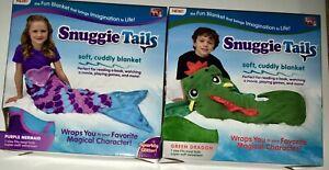 1 Snuggie Tails Kids Purple Mermaid & 1 Green Dragon Tails Snuggie COMBO SET NIB