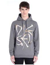 DIESEL Mens Bone Hoodie Fleece Sweatshirt Large Dark Grey Pullover