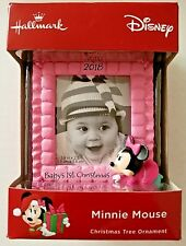 Hallmark Minnie Mouse Baby's 1st Christmas Picture Frame Polyresin Ornament New