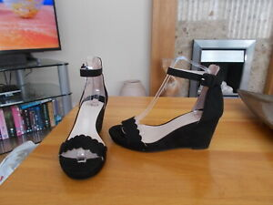 faith womens black wedge sandals size 5
