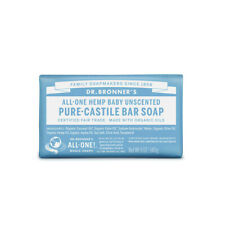 Dr Bronners Pure Castile Bar Soap (Hemp All-One) Baby Unscented 140g - vegan