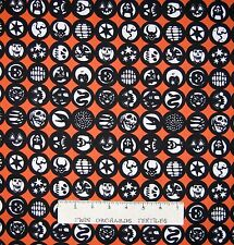 Halloween Fabric - Los Diablitos Medallion Orange - Alexander Henry YARD