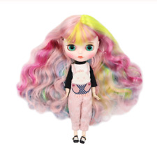 Rainbow Curly Pink Hair ICY Blythe Doll joint body 1/6 BJD Changing 4 Eye Colors