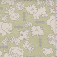 Mini Babies Sage Green Duck Canvas, Fabric By The Yard