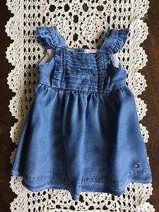 TOMMY HILFIGER Baby Girls Blue Dress Sleeveless SIZE 3 - 6 MONTHS