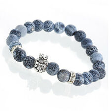 Mens Hip hop Silver Plated Lion Head Beaded Fashion Agate Bracelet Hip hop