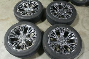 "22"" 6x139.7 +30 Vogue Rampage Chrome Wheels Rims Tires Silverado Escalade Denali"