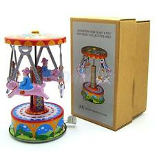 Retro Clockwork Wind Up Toys 4 Man in Carousel Metal Tin Toy Collectible