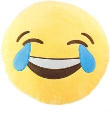 "12"" Emoji Emoticon Fun Tears of Happiness Pillow Round Yellow Stuffed Plush -New"