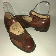 Joan & David Women's 36 Brown Leather Wingtip Mary Jane Low Heel Shoes EUC!