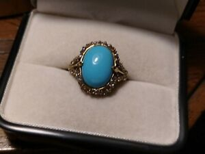 10k yg turquoise ring with light tanzanite accents, for repair