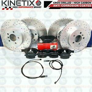 FOR BMW 530d M SPORT F07 FRONT REAR DRILLED BRAKE DISCS BREMBO PADS SENSORS