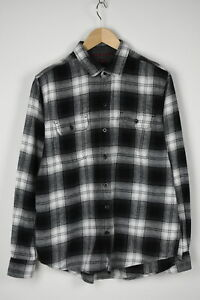 WOOLRICH HMT0687S Men's LARGE Black&White Checked Flannel Casual Shirt 31600_GS