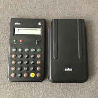 Vintage RARE 1980s Mac Apple Logo - BRAUN Calculator - Model 4835 3.0 V - Black