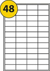 45x21mm A4 Labels 48 per Sheet  Self Adhesive Printer Labels template L6009