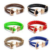 Men's Women's Alloy Leather Cord Bracelet Handmade Braided Woven Anchor