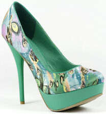 Green Blue Peacock Feather Print Satin High Stiletto Heel Platform Pump 10 us