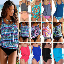 Damen Badeanzug Sports Tankini Set Oberteil Tops + Shorts Hose Strand Bademode